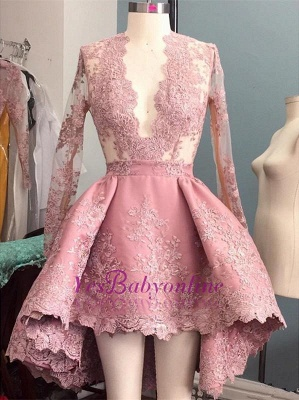 V-Neck Hi-Lo Long-Sleeves Pink Appliques Elegant Prom Dress_1