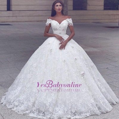 Glamorous Ball Gown Lace Short Sleeves Puffy Wedding Dresses_1