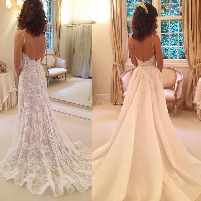 Appliques Spaghetti-Straps Backless Sexy Sheath Wedding Dresses_3