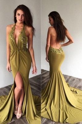 Deep-V-Neck Halter Backless Sexy Side-Slit Appliques Prom Dresses_2