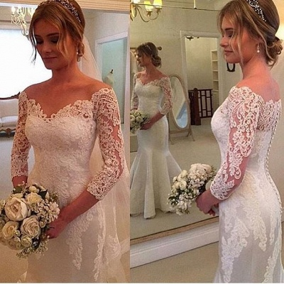 3/4-Length-Sleeves Off-the-shoulder Mermaid Button Wedding Dress_3