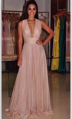 Deep-V-Neck Sexy Length Cross-Back Sheath Floor Prom Dress_4