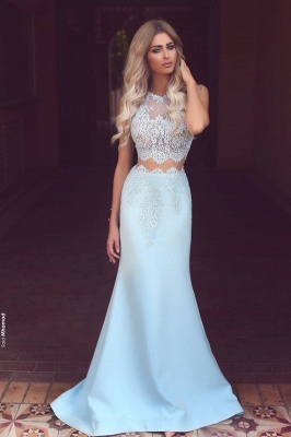 New Arrival Mermaid Two Pieces Lace Applqiues Sleeveless Prom Dresses_1