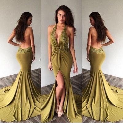 Deep-V-Neck Halter Backless Sexy Side-Slit Appliques Prom Dresses_3