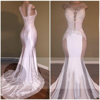 Glossy White Mermaid Prom Dresses Beading Lace Appliques Sheer Formal Dresses_5