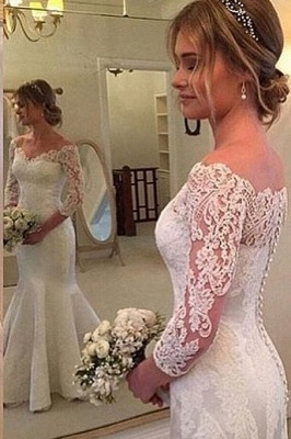 3/4-Length-Sleeves Off-the-shoulder Mermaid Button Wedding Dress_2