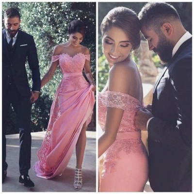 Long Candy-Pink A-Line Natural Off-the-Shoulder Lace Lace Prom Dresses_3