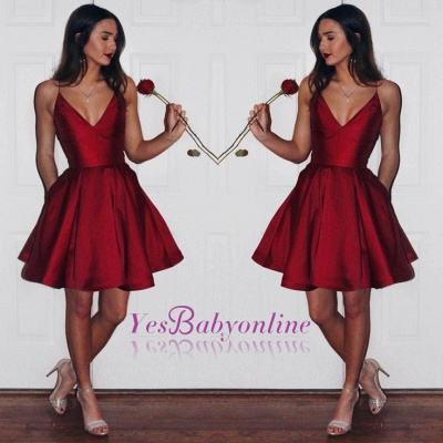 A-line Spaghetti Strap Ruby Short Homecoming Dress_1