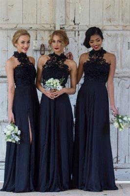 Halter Lace Chiffon Bridesmaid Dress with Split Sleeveless Cheap Sexy Maid of Honor Dresses BA7430_1