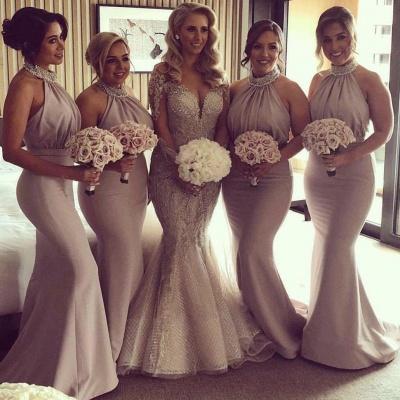 Elegant Halter Mermaid Bridesmaid Dresses | Sexy Pleats Off-the-Shoulder Wedding Party Dresses_3