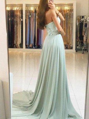 Elegant Sweetheart Prom Dresses   A-Line Lace Appliques Chiffon Evening Dresses_3
