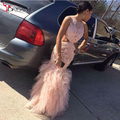 2019 Pink Mermaid Prom Dresses Lace Cutaway Sides Tiers Tulle Sexy Formal Gowns_4