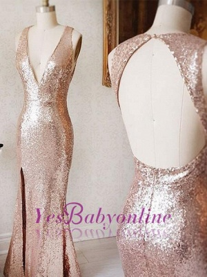 Split-Front Sequin Sheath Beading Backless Deep-v-neck Prom Dress_1