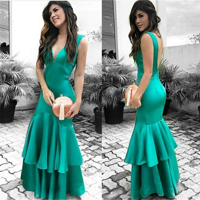 Sexy Cheap Sleeveless Evening Dresses   Ruffles Open Back Prom Dresses_3