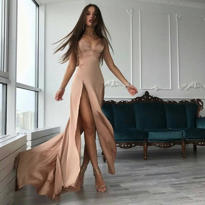 Front-Split A-line Modern Sleeveless V-neck Prom Dress_3
