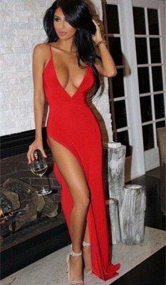 Sexy Red Spaghetti-Strap Long Split V-neck Prom Dress_2