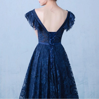 Elegant Dark Navy Prom Dresses Lace Beading V-Neck Ruffles Sleeves A-line Evening Gowns_7