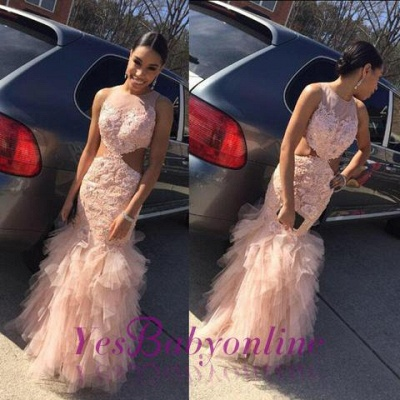 2019 Pink Mermaid Prom Dresses Lace Cutaway Sides Tiers Tulle Sexy Formal Gowns_1