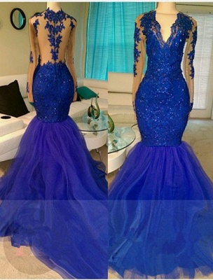 2019 Royal Blue Prom Dresses Long Sleeves Lace Appliques Mermaid Evening Gowns_2