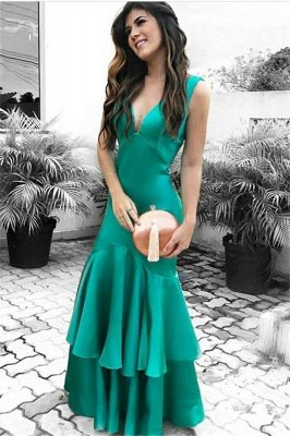 Sexy Cheap Sleeveless Evening Dresses   Ruffles Open Back Prom Dresses_2