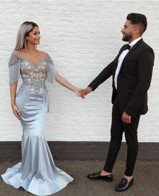 Elegant Mermaid Sky Blue Evening Gowns | V-Neck Prom Dresses with Tassels_1