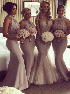 Elegant Halter Mermaid Bridesmaid Dresses | Sexy Pleats Off-the-Shoulder Wedding Party Dresses_1