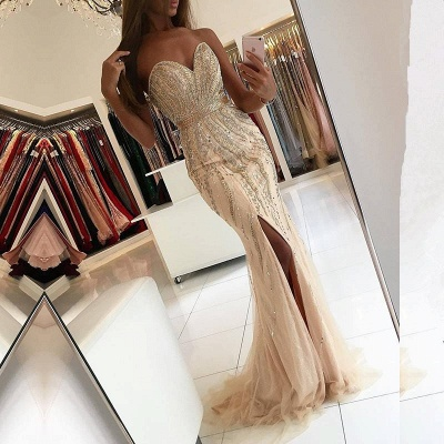 Elegant Sleeveless Side Slit Evening Gowns | Sweetheart Crystals Mermaid Prom Dresses_3