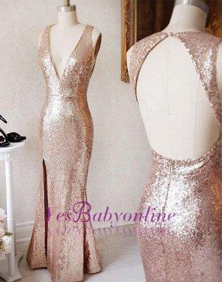 Split-Front Sequin Sheath Beading Backless Deep-v-neck Prom Dress_3