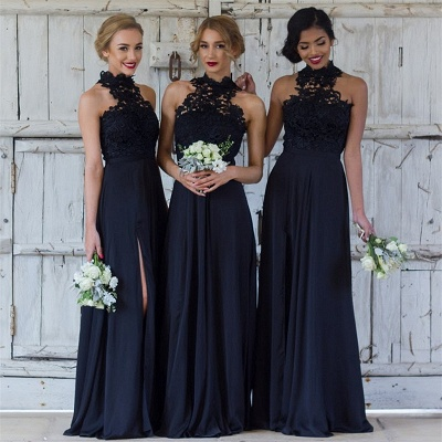 Halter Lace Chiffon Bridesmaid Dress with Split Sleeveless Cheap Sexy Maid of Honor Dresses BA7430_4