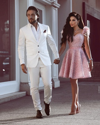 A-Line Beading Homecoming Dress | Luxury Feather Pink Party Dress_3