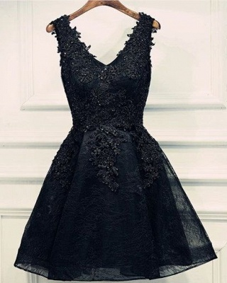 Black Lace Beaded Homecoming Dresses | A-line Short Prom Dresses_2