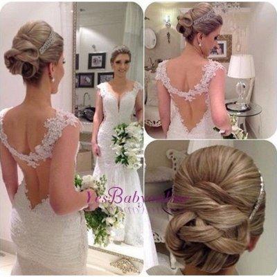 Sexy Sleeveless Lace Straps Mermaid Wedding Dresses_1