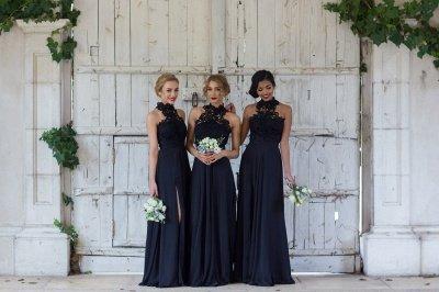 Halter Lace Chiffon Bridesmaid Dress with Split Sleeveless Cheap Sexy Maid of Honor Dresses BA7430_3