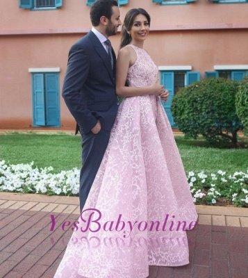 Chic Pink Halter Sweep Train Sleeveless Wedding Dress_1