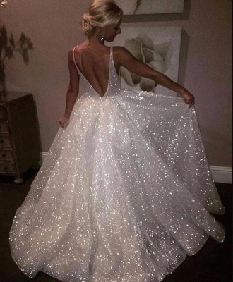 V-neck Sleeveless Long Prom Dresses | A-line Sequins White Evening Gowns_1