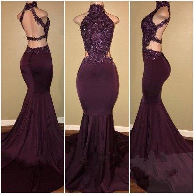 Sexy Halter Mermaid Green Prom Dress | High-Neck Backless Sleeveless Evening Dresses_3