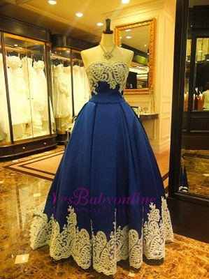 Appliques Elegant Sleeveless A-Line Strapless Evening Dress_2