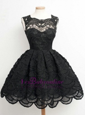 Lace Black Knee-Length Short Homecoming Dress | Stunning Short Prom Dresses_1