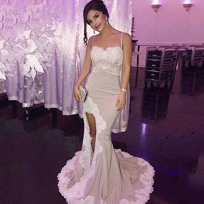 Mermaid Appliques Spaghetti-Straps Side-Slit Glamorous Prom Dress_3