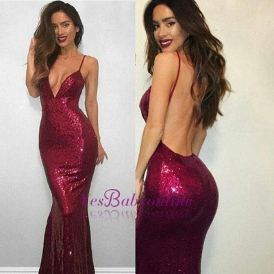 Mermaid Red Sexy V-neck Spaghetti-Strap Sequined Sleeveless Backless Prom Dress_1
