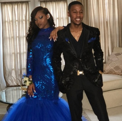 Royal Blue Mermaid Prom Dresses | Long Sleeves  Evening Gowns_6
