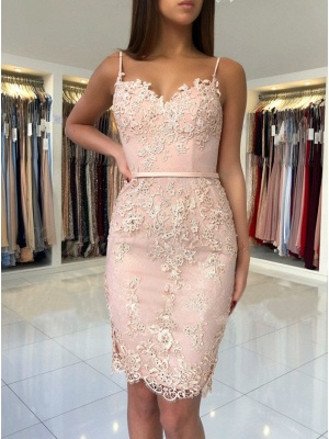 Elegant Pink Sheath Short Homecoming Dresses | Spaghetti-Strap Sleeveless Cocktail Dresses_3
