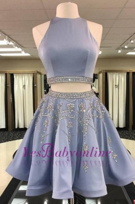 Two-Pieces Short Sleeveless A-line Gorgeous Crystal Homecoming Dress_1