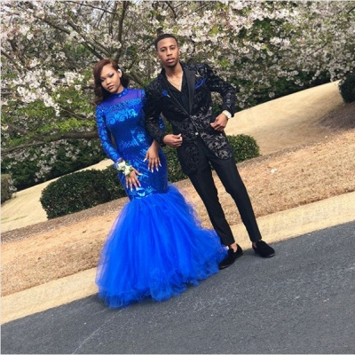 Royal Blue Mermaid Prom Dresses | Long Sleeves  Evening Gowns_5