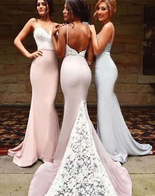 Mermaid Backless Straps Spaghettis Lace-Top Bridesmaid Dresses_3