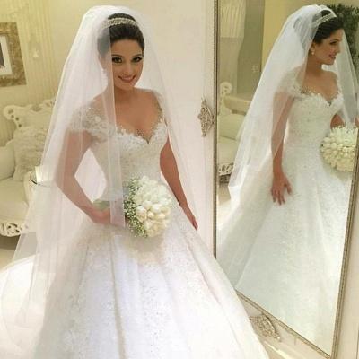 Gown Glamorous Cap Sleeves Beading Ball Wedding Dresses_3