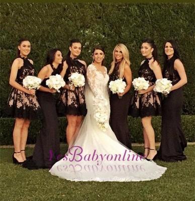 Halter Applique Short Sleeveless High-Neck A-Line Bridesmaid Dresses_1