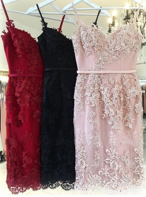 Elegant Pink Sheath Short Homecoming Dresses | Spaghetti-Strap Sleeveless Cocktail Dresses_4