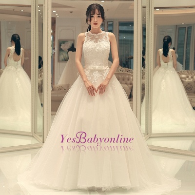 Glamorous Lace-up Bow Sweep Train A-line Sleeveless Wedding Dress_1