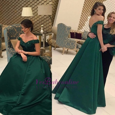 Glamorous Green Beads Off-the-Shoulder Evening Dress_1